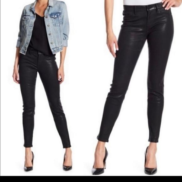 Anthropologie Level 99 Black Coated Skinny Jeans
